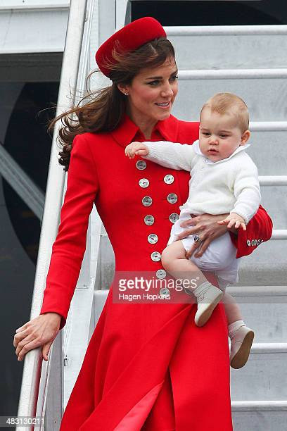 Catherine Duchess of Cambridge and Prince George of Cambridge arrive at Wellington Airport on April 7 2014 in Wellington New Zealand The Duke and...