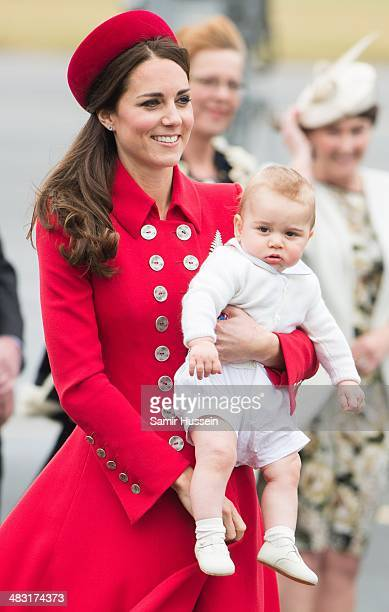 Catherine Duchess of Cambridge and Prince George of Cambridge arrive at Wellington Airport's military terminal for the start of their tour on April 7...