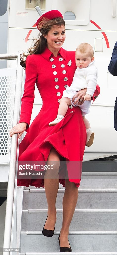 Catherine, Duchess of Cambridge and Prince George of Cambridge arrive at Wellington Airport's military terminal for the start of their tour on April 7, 2014 in Wellington, New Zealand. The Duke and Duchess of Cambridge are on a three-week tour of Australia and New Zealand, the first official trip overseas with their son, Prince George of Cambridge.