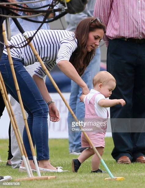 Catherine Duchess of Cambridge and Prince George of Cambridge attend the Royal Charity Polo during the Maserati Jerudong Trophy at Cirencester Park...