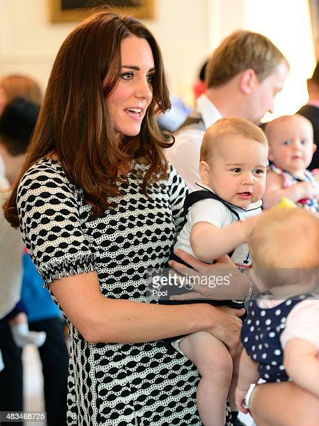 Catherine Duchess of Cambridge and Prince George of Cambridge attend Plunkett's Parent's Group at Government House on April 9 2014 in Wellington New...