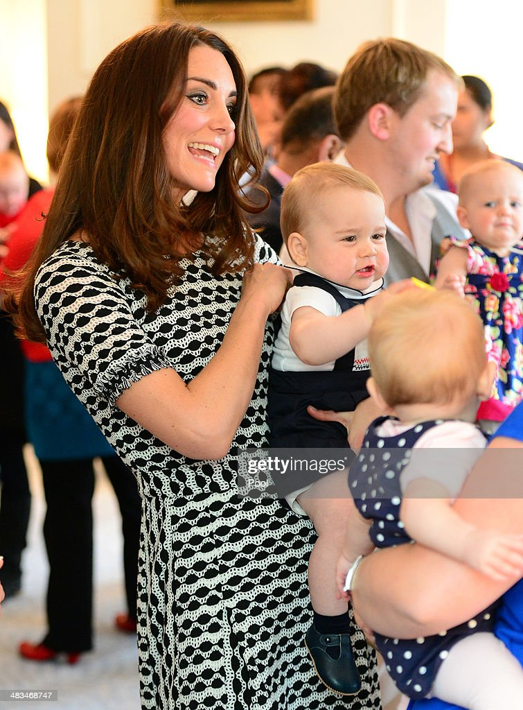 Catherine, Duchess of Cambridge and Prince George of Cambridge attend Plunkett's Parent's Group at Government House on April 9, 2014 in Wellington, New Zealand. The Duke and Duchess of Cambridge are on a three-week tour of Australia and New Zealand, the first official trip overseas with their son, Prince George of Cambridge.