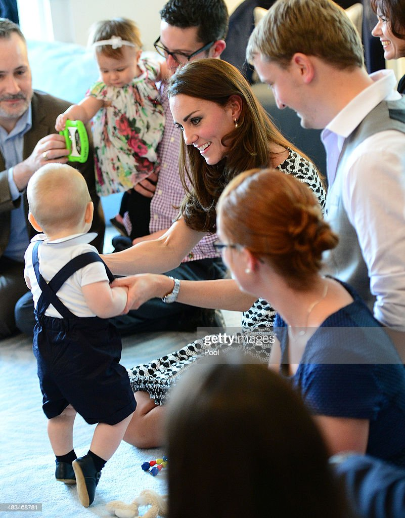 <a gi-track='captionPersonalityLinkClicked' href=/galleries/search?phrase=Catherine+-+Duchess+of+Cambridge&family=editorial&specificpeople=542588 ng-click='$event.stopPropagation()'>Catherine</a>, Duchess of Cambridge and <a gi-track='captionPersonalityLinkClicked' href=/galleries/search?phrase=Prince+George+of+Cambridge&family=editorial&specificpeople=11176510 ng-click='$event.stopPropagation()'>Prince George of Cambridge</a> attend Plunkett's Parent's Group at Government House on April 9, 2014 in Wellington, New Zealand. The Duke and Duchess of Cambridge are on a three-week tour of Australia and New Zealand, the first official trip overseas with their son, <a gi-track='captionPersonalityLinkClicked' href=/galleries/search?phrase=Prince+George+of+Cambridge&family=editorial&specificpeople=11176510 ng-click='$event.stopPropagation()'>Prince George of Cambridge</a>.