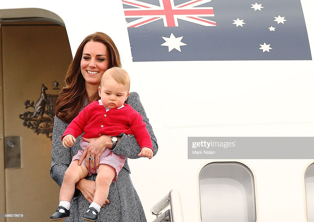 Catherine, Duchess of Cambridge and <a gi-track='captionPersonalityLinkClicked' href=/galleries/search?phrase=Prince+George+of+Cambridge&family=editorial&specificpeople=11176510 ng-click='$event.stopPropagation()'>Prince George of Cambridge</a> leave Fairbairne Airbase as they head back to the UK after finishing their Royal Visit to Australia on April 25, 2014 in Canberra, Australia. The Duke and Duchess of Cambridge are on a three-week tour of Australia and New Zealand, the first official trip overseas with their son, <a gi-track='captionPersonalityLinkClicked' href=/galleries/search?phrase=Prince+George+of+Cambridge&family=editorial&specificpeople=11176510 ng-click='$event.stopPropagation()'>Prince George of Cambridge</a>.