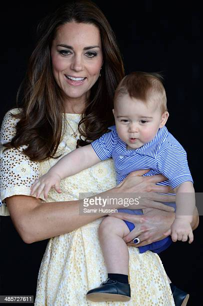 Catherine Duchess of Cambridge and Prince George of Cambridge visit the Bilby Enclosure at Taronga Zoo on April 20 2014 in Sydney Australia The Duke...