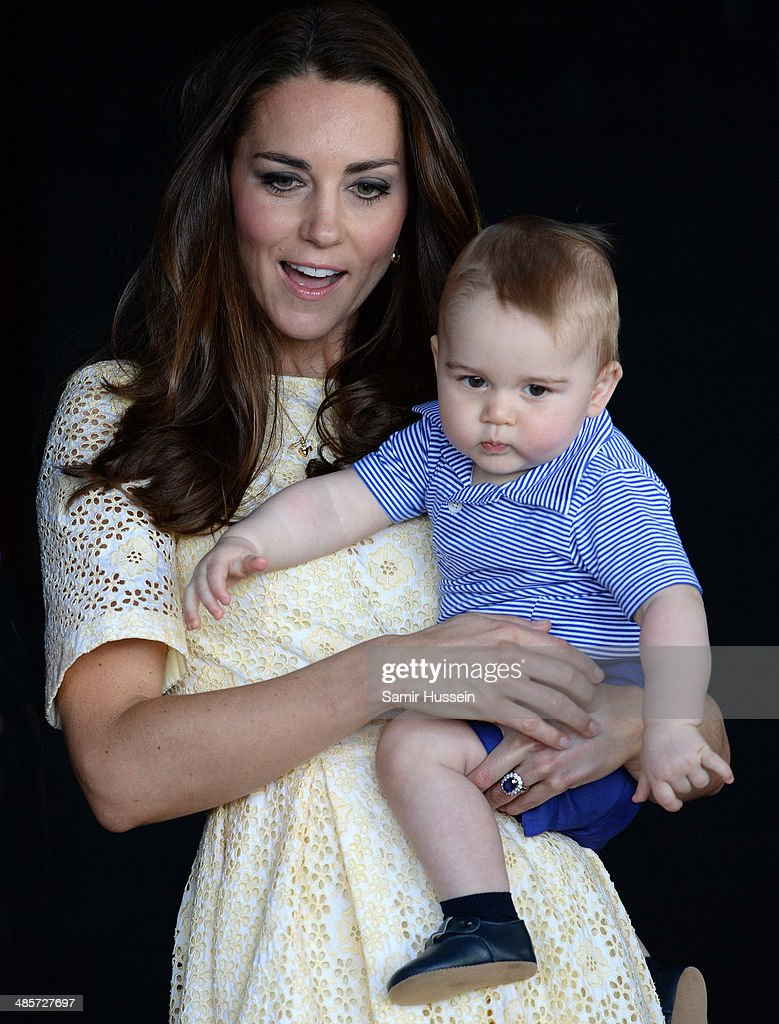 Catherine, Duchess of Cambridge and <a gi-track='captionPersonalityLinkClicked' href=/galleries/search?phrase=Prince+George+of+Cambridge&family=editorial&specificpeople=11176510 ng-click='$event.stopPropagation()'>Prince George of Cambridge</a> visit the Bilby Enclosure at Taronga Zoo on April 20, 2014 in Sydney, Australia. The Duke and Duchess of Cambridge are on a three-week tour of Australia and New Zealand, the first official trip overseas with their son, <a gi-track='captionPersonalityLinkClicked' href=/galleries/search?phrase=Prince+George+of+Cambridge&family=editorial&specificpeople=11176510 ng-click='$event.stopPropagation()'>Prince George of Cambridge</a>.