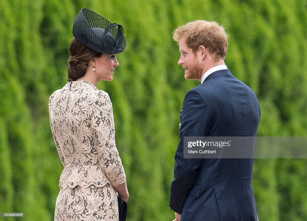 Catherine, Duchess of Cambridge and <a gi-track='captionPersonalityLinkClicked' href=/galleries/search?phrase=Prince+Harry&family=editorial&specificpeople=178173 ng-click='$event.stopPropagation()'>Prince Harry</a> attend a Commemoration of the Centenary of the Battle of the Somme at The Commonwealth War Graves Commission Thiepval Memorial on July 01, 2016 in Thiepval, France.