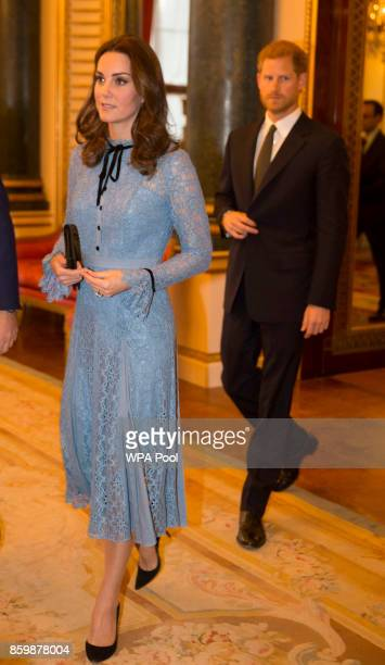 Catherine Duchess of Cambridge and Prince Harry attend a reception on World Mental Health Day to celebrate the contribution of those working in the...