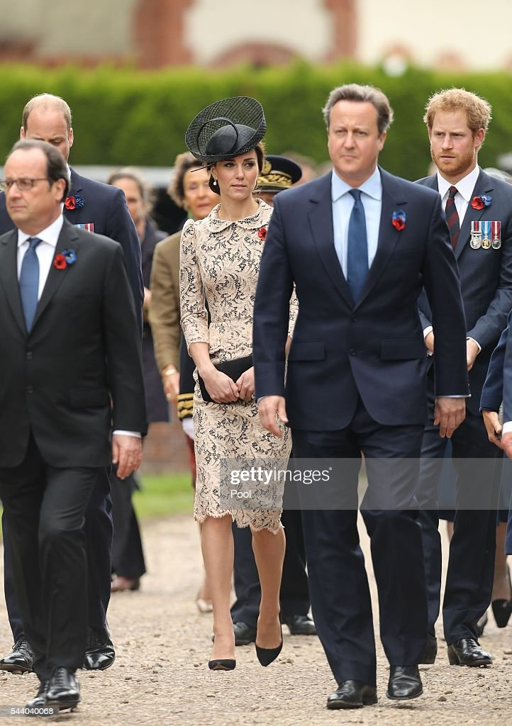 Catherine, Duchess of Cambridge and Prince Harry attend a service to mark the 100th anniversary of the beginning of the Battle of the Somme at the Thiepval memorial to the Missing on July 1, 2016 in Thiepval, France. The event is part of the Commemoration of the Centenary of the Battle of the Somme at the Commonwealth War Graves Commission Thiepval Memorial in Thiepval, France, where 70,000 British and Commonwealth soldiers with no known grave are commemorated.