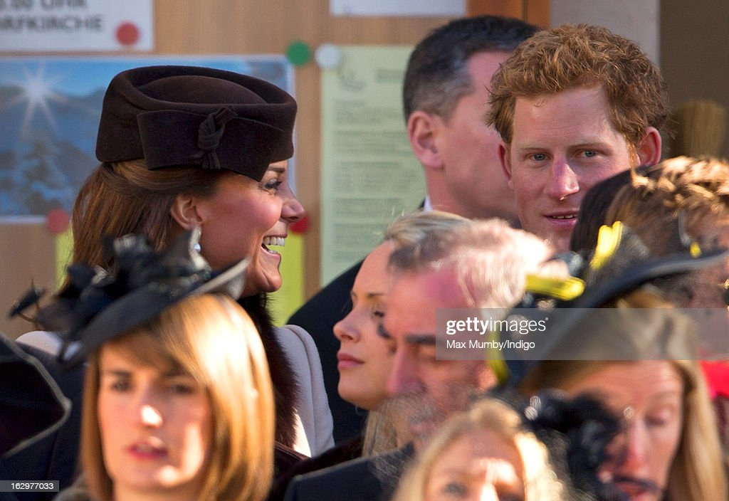 Catherine, Duchess of Cambridge and Prince Harry attend the wedding of Laura Bechtolsheimer and Mark Tomlinson at the Protestant Church on March 2, 2013 in Arosa, Switzerland.