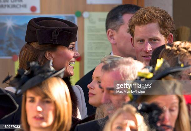 Catherine Duchess of Cambridge and Prince Harry attend the wedding of Laura Bechtolsheimer and Mark Tomlinson at the Protestant Church on March 2...