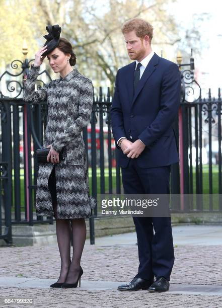 Catherine Duchess of Cambridge and Prince Harry attends Service of Hope at Westminster Abbey on April 5 2017 in London England The multifaith Service...