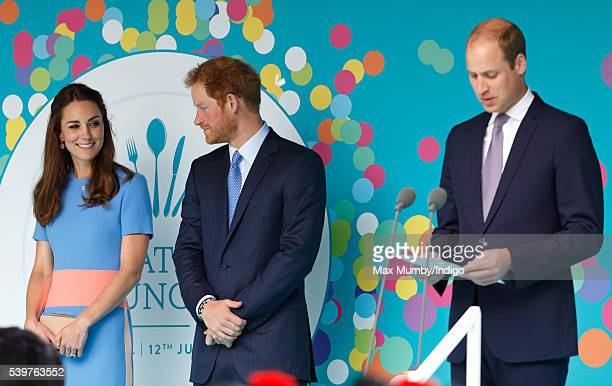 Catherine Duchess of Cambridge and Prince Harry look on as Prince William Duke of Cambridge makes a speech during 'The Patron's Lunch' celebrations...