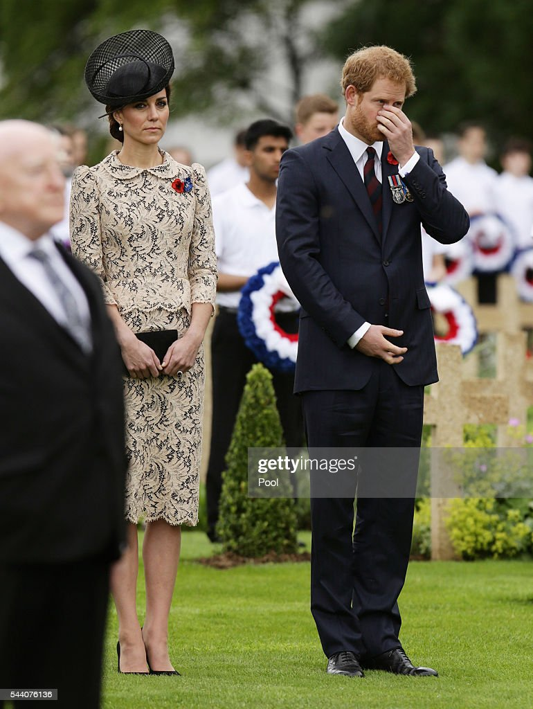 Catherine, Duchess of Cambridge and Prince Harry pay their respects following the wreath laying during the Commemoration of the Centenary of the Battle of the Somme at the Commonwealth War Graves Commission Thiepval Memoria on July 1, 2016 in Thiepval, France. The event is part of the Commemoration of the Centenary of the Battle of the Somme at the Commonwealth War Graves Commission Thiepval Memorial in Thiepval, France, where 70,000 British and Commonwealth soldiers with no known grave are commemorated.