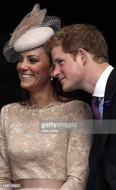 Catherine Duchess of Cambridge and Prince Harry smile as the leave a Service Of Thanksgiving at St Paul's Cathedral on June 5 2012 in London England...