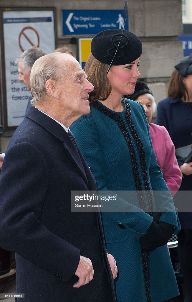 Catherine, Duchess of Cambridge and Prince Philip, Duke of Edinburgh visit Baker Street Underground Station to celebrate the Underground's 150th Birthday on March 20, 2013 in London, England.