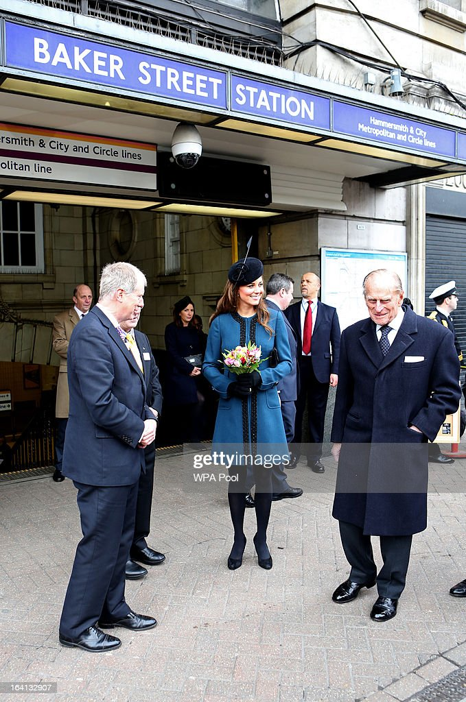 Catherine, Duchess of Cambridge and Prince Philip, Duke of Edinburgh make an official visit to Baker Street Underground Station, to mark 150th anniversary of the London Underground on March 20, 2013 in London, England.