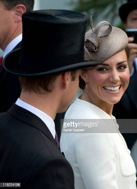 Catherine Duchess of Cambridge and Prince William Duke of Cambridge attend the 2011 Epsom Derby at Epsom racecourse on June 4 2011 in Epsom England