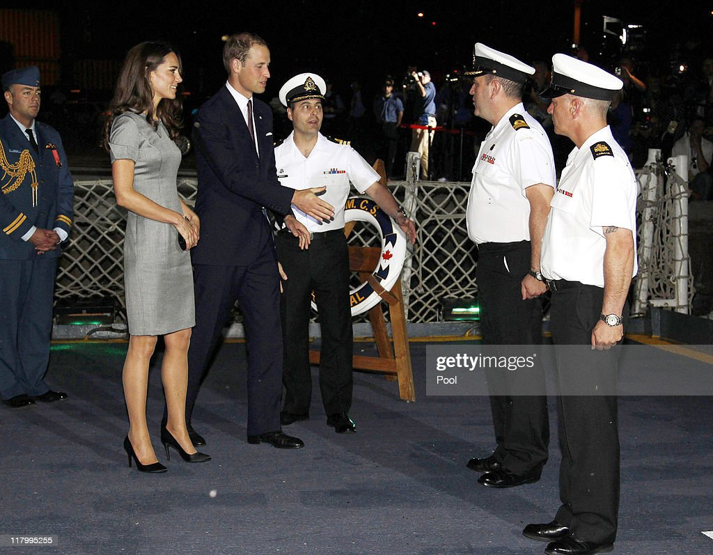 Catherine, Duchess of Cambridge and <a gi-track='captionPersonalityLinkClicked' href=/galleries/search?phrase=Prince+William&family=editorial&specificpeople=178205 ng-click='$event.stopPropagation()'>Prince William</a>, Duke of Cambridge are introduced to naval officers as they arrive on board HMCS Montreal on July 2, 2011 in Montreal Canada. The newly married Royal Couple are on the third day of their first joint overseas tour. The 12 day visit to North America will take in some of the more remote areas of the country such as Prince Edward Island, Yellowknife and Calgary. The Royal couple yesterday joined millions of Canadians in taking part in Canada Day celebrations which mark Canada's 144th Birthday.