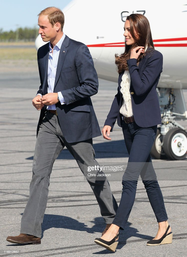 Catherine, Duchess of Cambridge and Prince William, Duke of Cambridge board a Canadian Airforce jet to Slave Lake at Yellowknife Airport on July 6, 2011 in Yellowknife, Canada. The newly married Royal Couple are on the seventh day of their first joint overseas tour. The 12 day visit to North America is taking in some of the more remote areas of the country such as Prince Edward Island, Yellowknife and Calgary. The Royal couple started off their tour by joining millions of Canadians in taking part in Canada Day celebrations which mark Canada's 144th Birthday.