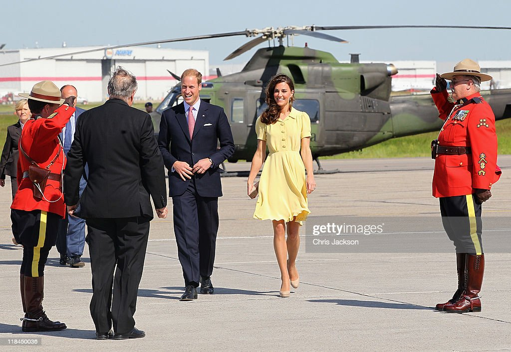Catherine, Duchess of Cambridge and Prince William, Duke of Cambridge arrive at Calgary Airport on July 7, 2011 in Yellowknife, Canada. The newly married Royal Couple are on the eighth day of their first joint overseas tour. The 12 day visit to North America is taking in some of the more remote areas of the country such as Prince Edward Island, Yellowknife and Calgary. The Royal couple started off their tour by joining millions of Canadians in taking part in Canada Day celebrations which mark Canada's 144th Birthday.