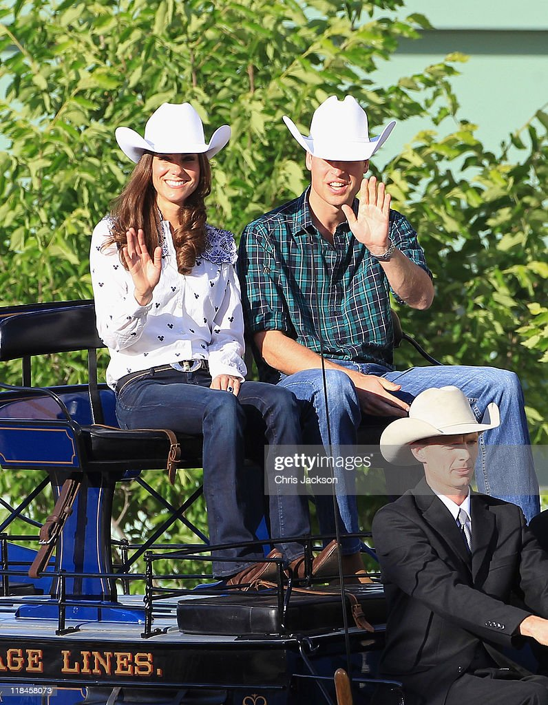 Catherine, Duchess of Cambridge and Prince William, Duke of Cambridge arrive on a horse drawn carriage at a Government Reception at the BMO Centre on July 7, 2011 in Calgary, Canada. The newly married Royal Couple are on the eighth day of their first joint overseas tour. The 12 day visit to North America is taking in some of the more remote areas of the country such as Prince Edward Island, Yellowknife and Calgary. The Royal couple started off their tour by joining millions of Canadians in taking part in Canada Day celebrations which mark Canada's 144th Birthday.