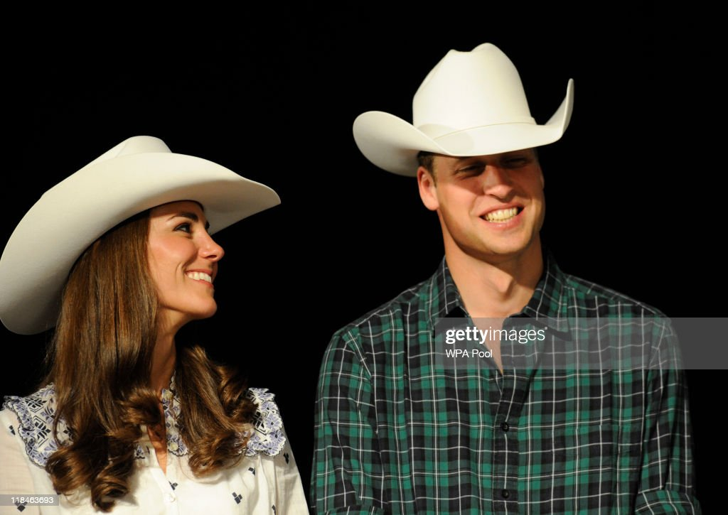 Catherine, Duchess of Cambridge and Prince William, Duke of Cambridge wear their new Smithbilt cowboy hats as they watch a rodeo demonstration at a Government Reception at the BMO Centre on July 7, 2011 in Calgary, Alberta, Canada. The newlywed royal couple are on their eighth day of their first joint overseas tour visiting Canada and the United States. The 12 day visit to North America is taking in some of the more remote areas of the country such as Prince Edward Island, Yellowknife and Calgary.