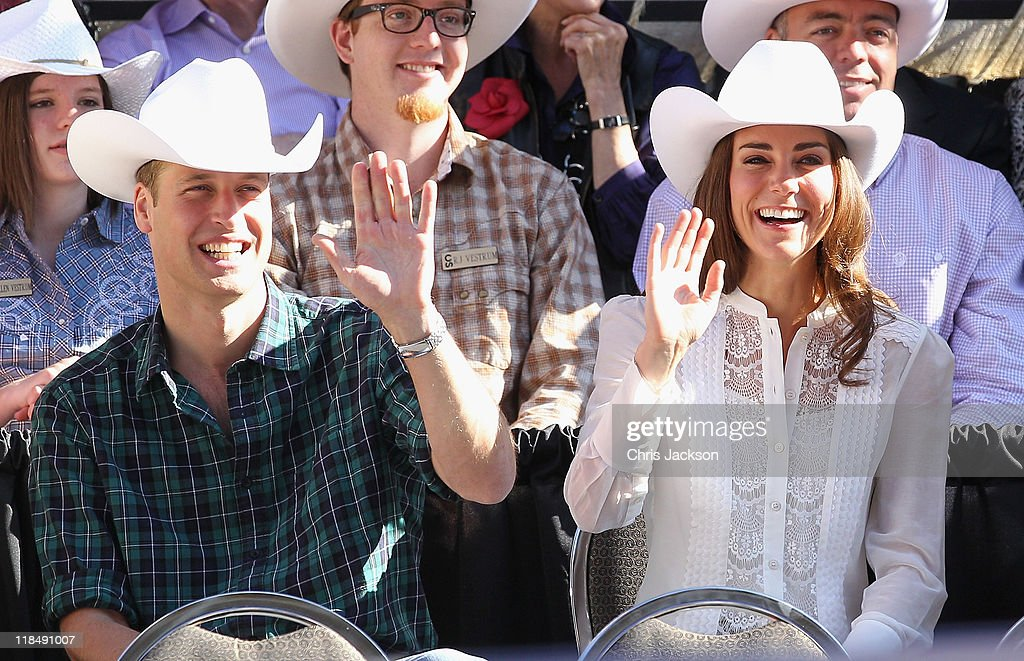 Catherine, Duchess of Cambridge and <a gi-track='captionPersonalityLinkClicked' href=/galleries/search?phrase=Prince+William&family=editorial&specificpeople=178205 ng-click='$event.stopPropagation()'>Prince William</a>, Duke of Cambridge wave as they attend the Calgary Stampede on July 8, 2011 in Calgary, Canada. The newly married Royal Couple are on the ninth day of their first joint overseas tour. The 12 day visit to North America is taking in some of the more remote areas of the country such as Prince Edward Island, Yellowknife and Calgary. The Royal couple started off their tour by joining millions of Canadians in taking part in Canada Day celebrations which mark Canada's 144th Birthday.