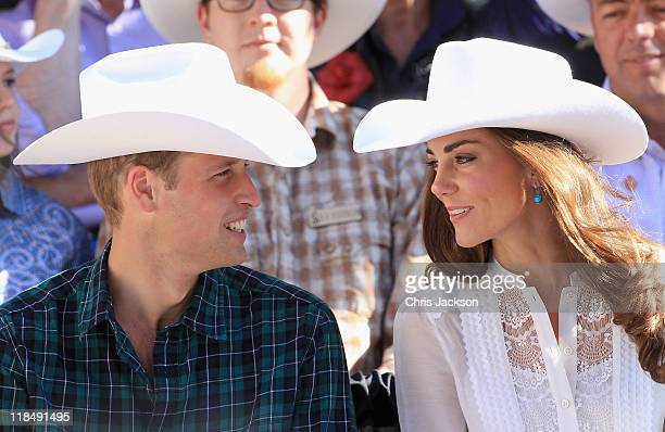Catherine Duchess of Cambridge and Prince William Duke of Cambridge attend the Calgary Stampede on July 8 2011 in Calgary Canada The newly married...