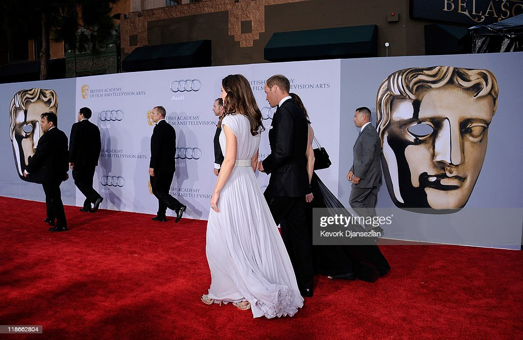 Catherine Duchess of Cambridge and Prince William Duke of Cambridge arrive at the BAFTA Brits To Watch event held at the Belasco Theatre on July 9...