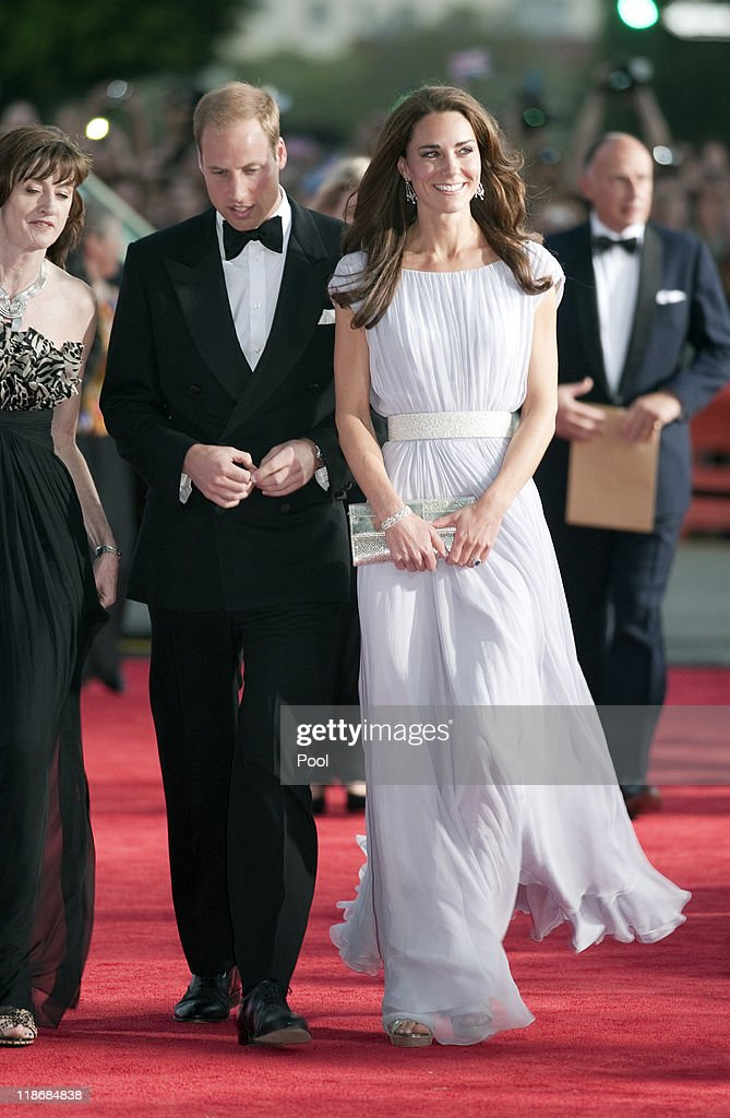 Catherine Duchess of Cambridge and Prince William Duke of Cambridge arrive at the 2011 BAFTA Brits To Watch Event at the Belasco Theatre on July 9...