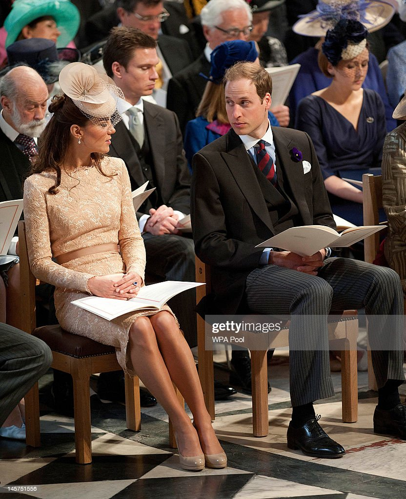 Catherine, Duchess of Cambridge and Prince William, Duke of Cambridge during a service of thanksgiving to mark the Queen's Diamond Jubilee at St Paul's cathedral on June 5, 2012 in London, England. For only the second time in its history the UK celebrates the Diamond Jubilee of a monarch. Her Majesty Queen Elizabeth II celebrates the 60th anniversary of her ascension to the throne today with a carriage procession and a service of thanksgiving at St Paul's Cathedral.