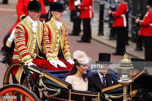 Catherine Duchess of Cambridge and Prince William Duke of Cambridge are seen during the Diamond Jubilee carriage procession after the service of...