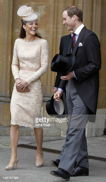 Catherine Duchess of Cambridge and Prince William Duke of Cambridge leave Westminster Hall after a Diamond Jubilee Luncheon given for The Queen by...