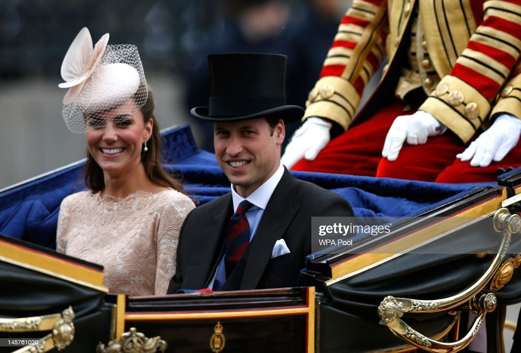 Catherine, Duchess of Cambridge and Prince William, Duke of Cambridge wave to spectators as they leave Westminster Hall during the Diamond Jubilee celebrations on June 5, 2012 in London, England. For only the second time in its history the UK celebrates the Diamond Jubilee of a monarch. Her Majesty Queen Elizabeth II celebrates the 60th anniversary of her ascension to the throne today with a carriage procession and a service of thanksgiving at St Paul's Cathedral.