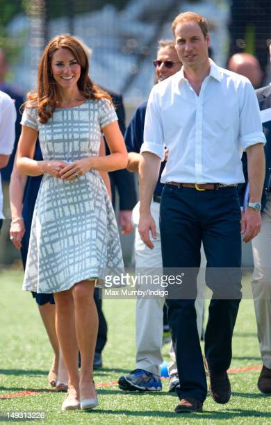 Catherine Duchess of Cambridge and Prince William Duke of Cambridge visit Bacon's College on July 26 2012 in London England