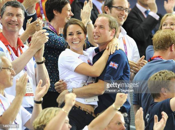Catherine Duchess of Cambridge and Prince William Duke of Cambridge during Day 6 of the London 2012 Olympic Games at Velodrome on August 2 2012 in...