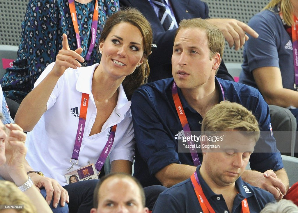 Catherine, Duchess of Cambridge and Prince William, Duke of Cambridge look on during Day 6 of the London 2012 Olympic Games at Velodrome on August 2, 2012 in London, England.