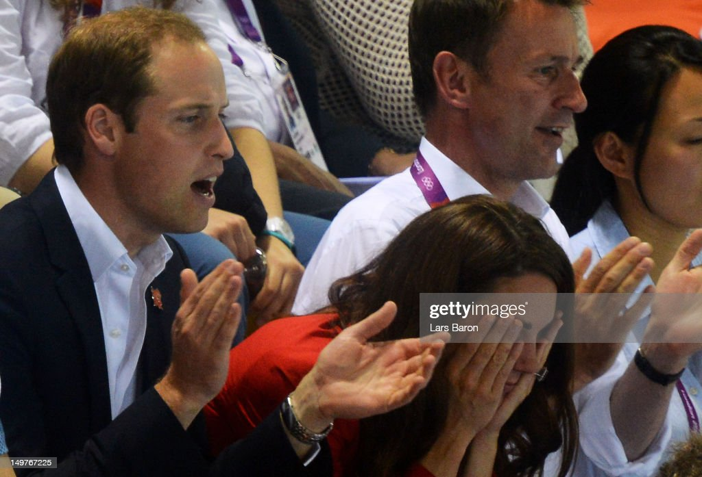 <a gi-track='captionPersonalityLinkClicked' href=/galleries/search?phrase=Catherine+-+Duchess+of+Cambridge&family=editorial&specificpeople=542588 ng-click='$event.stopPropagation()'>Catherine</a>, Duchess of Cambridge and <a gi-track='captionPersonalityLinkClicked' href=/galleries/search?phrase=Prince+William&family=editorial&specificpeople=178205 ng-click='$event.stopPropagation()'>Prince William</a>, Duke of Cambridge watch the swimming finals session on Day 7 of the London 2012 Olympic Games at the Aquatics Centre on August 3, 2012 in London, England.