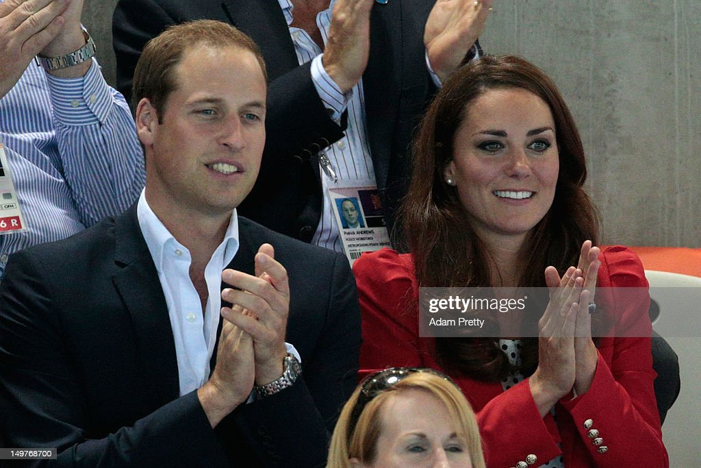 Catherine, Duchess of Cambridge and Prince William, Duke of Cambridge watch the swimming finals session on Day 7 of the London 2012 Olympic Games at the Aquatics Centre on August 3, 2012 in London, England.