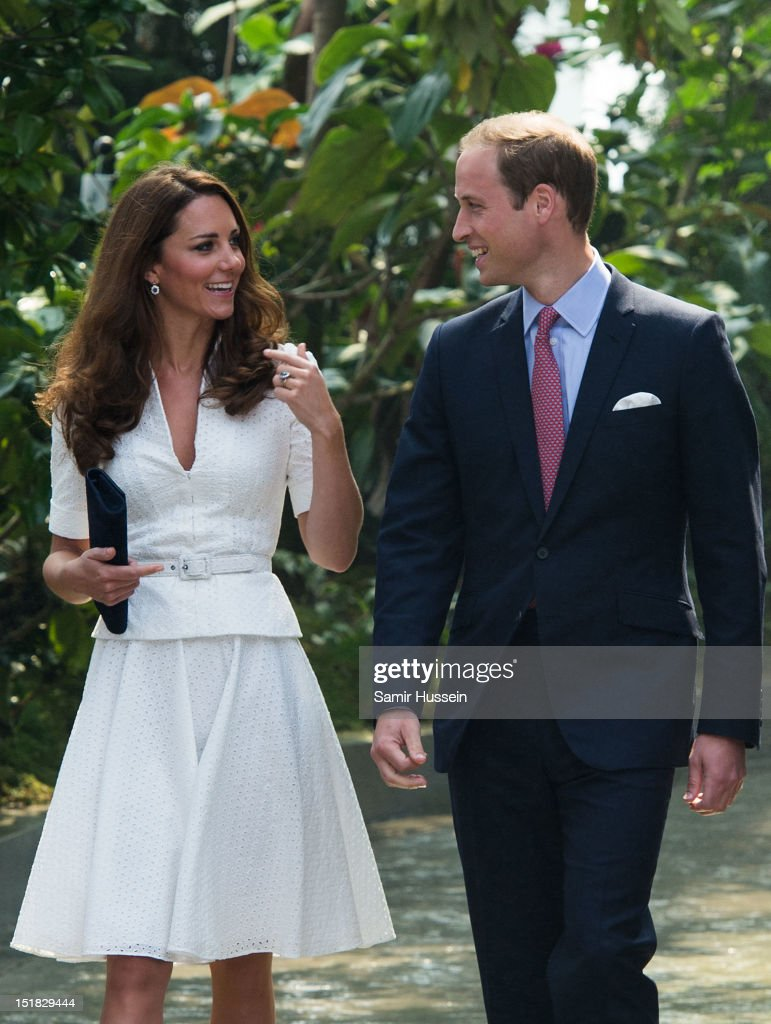 Catherine, Duchess of Cambridge and Prince William, Duke of Cambridge visit the 'rain mountain' dome walk at Gardens by the Bay on day 2 of their Diamond Jubilee tour on September 12, 2012 in Singapore.