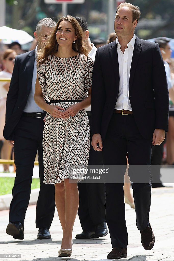 Catherine, Duchess of Cambridge (L) and Prince William, Duke of Cambridge arrive at Queenstown for the community cultural visit on day 2 during the Diamond Jubilee tour on September 12, 2012 in Singapore. Prince William, Duke of Cambridge and Catherine, Duchess of Cambridge are on a Diamond Jubilee Tour of the Far East taking in Singapore, Malaysia, the Solomon Islands and the tiny Pacific Island of Tuvalu.