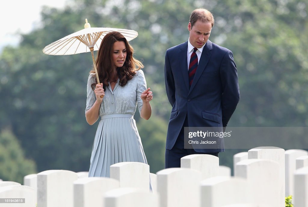 Catherine, Duchess of Cambridge and <a gi-track='captionPersonalityLinkClicked' href=/galleries/search?phrase=Prince+William&family=editorial&specificpeople=178205 ng-click='$event.stopPropagation()'>Prince William</a>, Duke of Cambridge visit Kranji Commonwealth War Cemetery on day 3 of <a gi-track='captionPersonalityLinkClicked' href=/galleries/search?phrase=Prince+William&family=editorial&specificpeople=178205 ng-click='$event.stopPropagation()'>Prince William</a>, Duke of Cambridge and Catherine, Duchess of Cambridge's Diamond Jubilee Tour of South East Asia on September 13, 2012 in Singapore. <a gi-track='captionPersonalityLinkClicked' href=/galleries/search?phrase=Prince+William&family=editorial&specificpeople=178205 ng-click='$event.stopPropagation()'>Prince William</a>, Duke of Cambridge and Catherine, Duchess of Cambridge are on a Diamond Jubilee Tour of South East Asia and the South Pacific taking in Singapore, Malaysia, Solomon Islands and Tuvalu.
