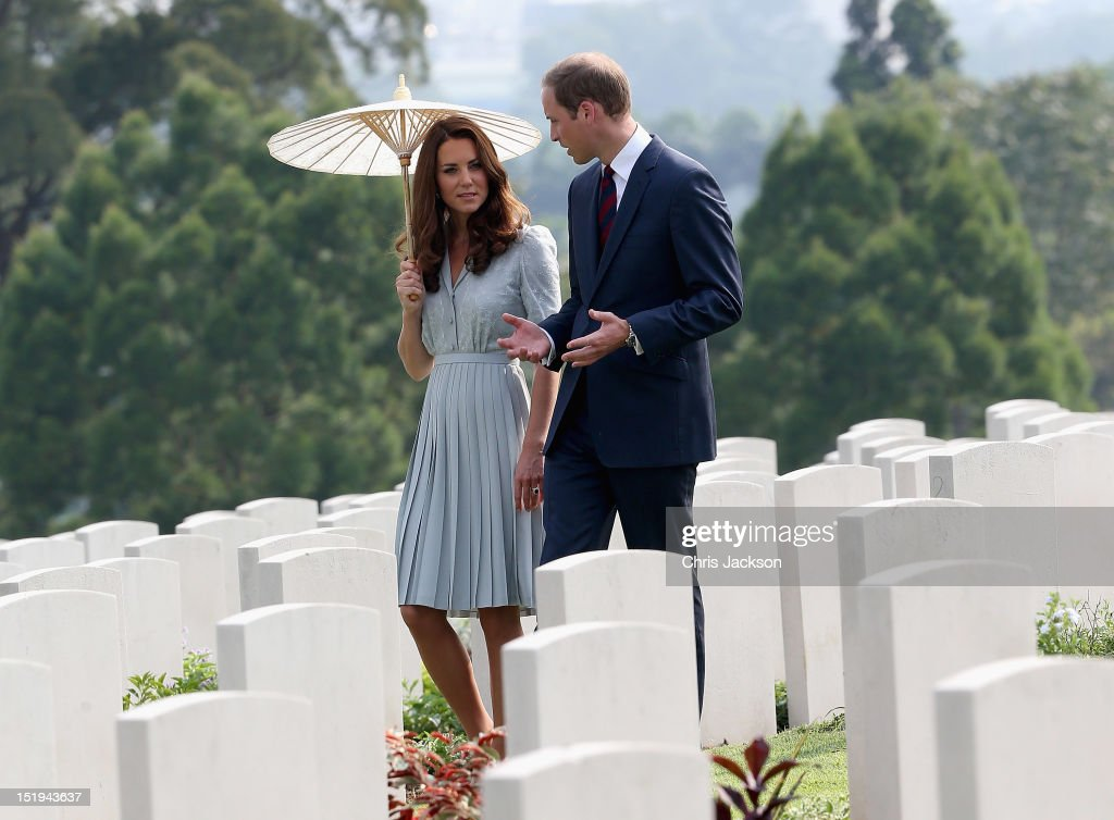 <a gi-track='captionPersonalityLinkClicked' href=/galleries/search?phrase=Catherine+-+Duchess+of+Cambridge&family=editorial&specificpeople=542588 ng-click='$event.stopPropagation()'>Catherine</a>, Duchess of Cambridge and <a gi-track='captionPersonalityLinkClicked' href=/galleries/search?phrase=Prince+William&family=editorial&specificpeople=178205 ng-click='$event.stopPropagation()'>Prince William</a>, Duke of Cambridge visit Kranji Commonwealth War Cemetery on day 3 of <a gi-track='captionPersonalityLinkClicked' href=/galleries/search?phrase=Prince+William&family=editorial&specificpeople=178205 ng-click='$event.stopPropagation()'>Prince William</a>, Duke of Cambridge and <a gi-track='captionPersonalityLinkClicked' href=/galleries/search?phrase=Catherine+-+Duchess+of+Cambridge&family=editorial&specificpeople=542588 ng-click='$event.stopPropagation()'>Catherine</a>, Duchess of Cambridge's Diamond Jubilee Tour of South East Asia on September 13, 2012 in Singapore. <a gi-track='captionPersonalityLinkClicked' href=/galleries/search?phrase=Prince+William&family=editorial&specificpeople=178205 ng-click='$event.stopPropagation()'>Prince William</a>, Duke of Cambridge and <a gi-track='captionPersonalityLinkClicked' href=/galleries/search?phrase=Catherine+-+Duchess+of+Cambridge&family=editorial&specificpeople=542588 ng-click='$event.stopPropagation()'>Catherine</a>, Duchess of Cambridge are on a Diamond Jubilee Tour of South East Asia and the South Pacific taking in Singapore, Malaysia, Solomon Islands and Tuvalu.