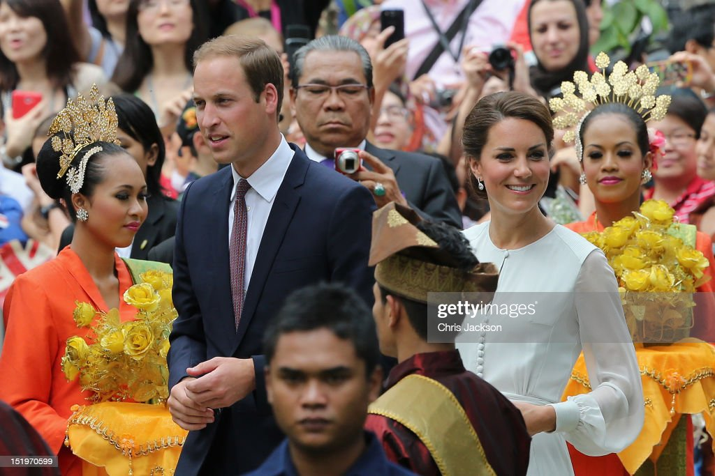 Catherine, Duchess of Cambridge and <a gi-track='captionPersonalityLinkClicked' href=/galleries/search?phrase=Prince+William&family=editorial&specificpeople=178205 ng-click='$event.stopPropagation()'>Prince William</a>, Duke of Cambridge attend a cultural event on day 4 of <a gi-track='captionPersonalityLinkClicked' href=/galleries/search?phrase=Prince+William&family=editorial&specificpeople=178205 ng-click='$event.stopPropagation()'>Prince William</a>, Duke of Cambridge and Catherine, Duchess of Cambridge's Diamond Jubilee Tour of the Far East on September 14, 2012 in Kuala Lumpur, Malaysia. <a gi-track='captionPersonalityLinkClicked' href=/galleries/search?phrase=Prince+William&family=editorial&specificpeople=178205 ng-click='$event.stopPropagation()'>Prince William</a>, Duke of Cambridge and Catherine, Duchess of Cambridge are on a Diamond Jubilee Tour of the Far East taking in Singapore, Malaysia, the Solomon Islands and the tiny Pacific Island of Tuvalu.