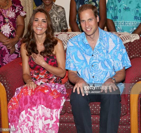 Catherine Duchess of Cambridge and Prince William Duke of Cambridge pose wearing traditional island clothing during a visit to the Governor General's...
