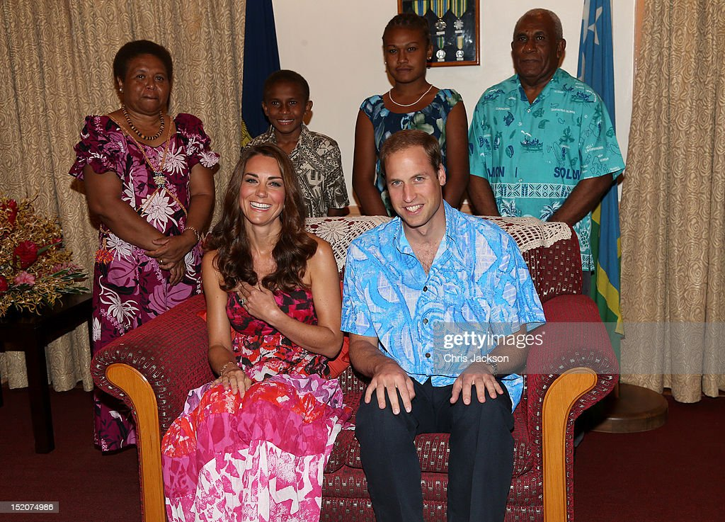 Catherine, Duchess of Cambridge and <a gi-track='captionPersonalityLinkClicked' href=/galleries/search?phrase=Prince+William&family=editorial&specificpeople=178205 ng-click='$event.stopPropagation()'>Prince William</a>, Duke of Cambridge pose in traditional Island clothing with the Governor General Frank Kabui's family during a visit to his house as part of a Diamond Jubilee tour of the Far East on September 16, 2012 in Honiara, Guadalcanal Island. <a gi-track='captionPersonalityLinkClicked' href=/galleries/search?phrase=Prince+William&family=editorial&specificpeople=178205 ng-click='$event.stopPropagation()'>Prince William</a>, Duke of Cambridge and Catherine, Duchess of Cambridge are during a Diamond Jubilee tour representing the Queen, taking in Singapore, Malaysia, the Solomon Islands and Tuvalu.