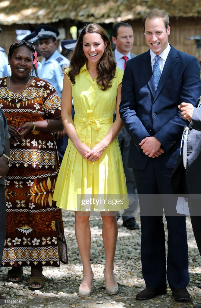 <a gi-track='captionPersonalityLinkClicked' href=/galleries/search?phrase=Catherine+-+Duchessa+di+Cambridge&family=editorial&specificpeople=542588 ng-click='$event.stopPropagation()'>Catherine</a>, Duchess of Cambridge and Prince William, Duke of Cambridge visit a cultural village on their Diamond Jubilee tour of the Far East on September 17, 2012 in Honiara, Guadalcanal Island. Prince William, Duke of Cambridge and <a gi-track='captionPersonalityLinkClicked' href=/galleries/search?phrase=Catherine+-+Duchessa+di+Cambridge&family=editorial&specificpeople=542588 ng-click='$event.stopPropagation()'>Catherine</a>, Duchess of Cambridge are on a Diamond Jubilee tour representing the Queen taking in Singapore, Malaysia, the Solomon Islands and Tuvalu.