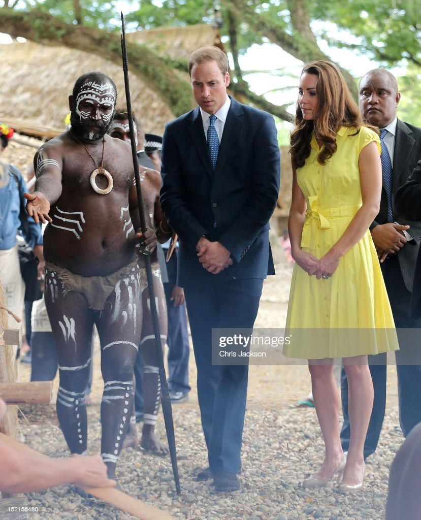 <a gi-track='captionPersonalityLinkClicked' href=/galleries/search?phrase=Catherine+-+Duchess+of+Cambridge&family=editorial&specificpeople=542588 ng-click='$event.stopPropagation()'>Catherine</a>, Duchess of Cambridge and <a gi-track='captionPersonalityLinkClicked' href=/galleries/search?phrase=Prince+William&family=editorial&specificpeople=178205 ng-click='$event.stopPropagation()'>Prince William</a>, Duke of Cambridge visit a cultural village on their Diamond Jubilee tour of the Far East on September 17, 2012 in Honiara, Guadalcanal Island. <a gi-track='captionPersonalityLinkClicked' href=/galleries/search?phrase=Prince+William&family=editorial&specificpeople=178205 ng-click='$event.stopPropagation()'>Prince William</a>, Duke of Cambridge and <a gi-track='captionPersonalityLinkClicked' href=/galleries/search?phrase=Catherine+-+Duchess+of+Cambridge&family=editorial&specificpeople=542588 ng-click='$event.stopPropagation()'>Catherine</a>, Duchess of Cambridge are on a Diamond Jubilee tour representing the Queen taking in Singapore, Malaysia, the Solomon Islands and Tuvalu.