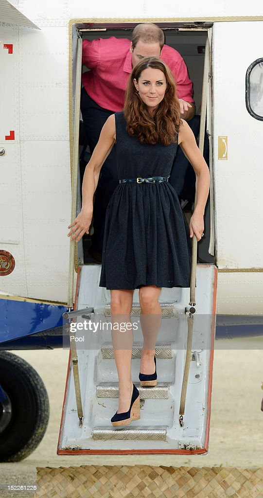 Catherine, Duchess of Cambridge and Prince William, Duke of Cambridge are seen arriving in Marau on their way to Tivanipupu on day 7 of their Diamond Jubilee Tour, on September 17, 2012 in Marau, Guadacanal Province, Solomon Islands. Prince William, Duke of Cambridge and Catherine, Duchess of Cambridge arrived in the Solomon Islands as the first stop of the Pacific leg of their nine day Diamond Jubilee Tour of the Far East and South Pacific.